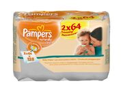 PAMPERS Детские салфетки Naturally Clean Duo 2X64