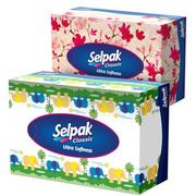SELPAK Салфетка гигиеническая в коробке 3 слойная Микс 50шт.
