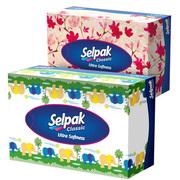 SELPAK Салфетка гигиеническая в коробке 3 слойная Мини микс 70шт