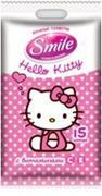 SMILE Влажные салфетки Hello Kitty в горошек 15шт, Еврослот