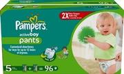 PAMPERS Детские подгузники-трусики Active Boy Junior (12-18 кг) Мега Упаковка 96