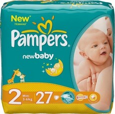 PAMPERS Детские подгузники New Baby-Dry Mini (3-6 кг) Стандарт Упаковка 27