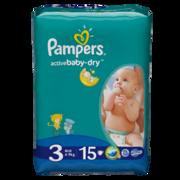 PAMPERS Детские подгузники Active Baby Midi (4-9 кг) Микро Упаковка 15