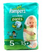 PAMPERS Детские подгузники-трусики Active Boy Junior (12-18 кг) Микро Упаковка 15