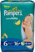 PAMPERS Детские подгузники Active Baby Extra Large (15 + кг) Стандартная Упаковка 16