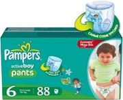 PAMPERS Детские подгузники-трусики Active Boy Extra Large (16+ кг) МегаУпак 88